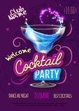 Cocktail party poster in eclectic modern style. Realistic cocktail royalty free illustration