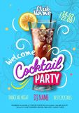 Cocktail party poster in eclectic modern style. Realistic cocktail vector illustration