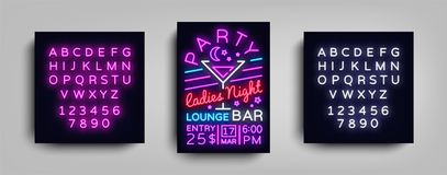 Cocktail Party poster neon. Flyer template design in neon style. Ladies Night Cocktail Party Dance Invitations, Light. Banner, Bright Brochure Nightlife. Vector Royalty Free Stock Photos