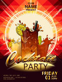 Cocktail party poster1. Cocktail party poster with cocktail in the rays of light on dark background vector EPS 10 Stock Images