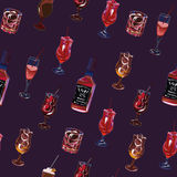 Cocktail party purple seamless pattern Stock Photography