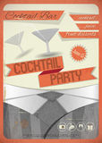 Cocktail Party. Retro card. Invitation to cocktail party in vintage grunge style. illustration Royalty Free Stock Photography