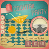 Cocktail Party. Retro card. Invitation to cocktail party in vintage style. Square format. illustration Stock Photos
