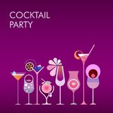 Cocktail Party vector gradient background. Vector banner design with different cocktail glasses isolated on a gradient purple background Stock Photography