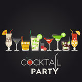 Cocktail party. Vector set of different alcohol cocktails. Pina Colada, Dry Martini, Screwdriver, Mojito, Bloody Mary, Cosmopolitan, Margarita, Cuba Libre stock illustration