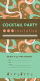 Cocktail party vertical invitation card template with cocktails, citrus, waves. Colorful and gold colors. Place for your text Royalty Free Stock Image
