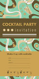 Cocktail party vertical invitation card. Template with cocktails, citrus, waves. Green and gold colors. Place for your text Royalty Free Stock Photos