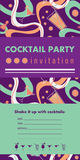 Cocktail party vertical invitation card template with cocktails, citrus, waves. Green and violet colors. Place for your text Royalty Free Stock Images