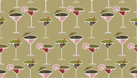 Cocktail pattern. Vector illustration of funky retro styled cocktail pattern Royalty Free Stock Photo