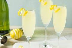 Cocktail pieno di bolle brillo del francese 75 del limone Immagini Stock