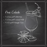 Cocktail Pina colada on black board Stock Photography