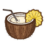 The cocktail Pina colada with a straw and slice of pineapple isolated on white background. Brown coconut. Stock Image