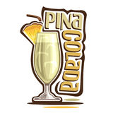 Cocktail Pina Colada. Vector illustration of alcohol Cocktail Pina Colada: garnish of pineapple slice on glass of tropical cocktail, coconut smoothie mocktail Stock Photo