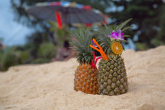 Cocktail in a pineapple. On the sand Royalty Free Stock Photography