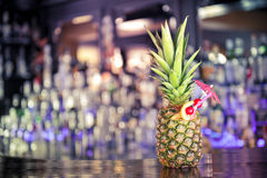 Cocktail in pineapple. Tropical fruit cocktail in pineapple Stock Image