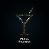 Cocktail - pixel illustration. Royalty Free Stock Images