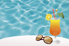 Cocktail in pool Stock Image
