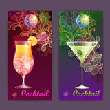 Cocktail poster. Disco background Stock Images