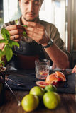 Cocktail preparation ingredients on table with bartender. Holding basil leaves Stock Image