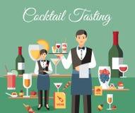 Cocktail-Probieren-Fahnen-flache Vektor-Illustration lizenzfreie abbildung