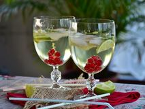 Cocktail, Prosecco, Lime, Drink Stock Images