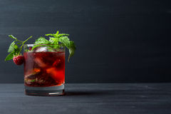 Cocktail with raspberry and mint Royalty Free Stock Photography