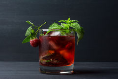 Cocktail with raspberry and mint Stock Photo