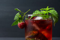 Cocktail with raspberry and mint Stock Photography