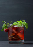 Cocktail with raspberry and mint Stock Image