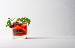 Cocktail with raspberry and mint Royalty Free Stock Images