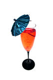 Cocktail, red. Cocktail, alcohol or alco-pop, sparkling red drink with blue party brollie stock photos