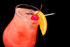Cocktail with red cherry and orange closeup Royalty Free Stock Photography