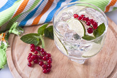 Cocktail. Refreshing lime and red currant garnished cocktail Stock Image