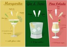Cocktail-Rezepte, Vektor Stockbild