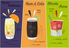 Cocktail-Rezepte, Vektor Stockfotos