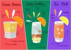 Cocktail-Rezepte, Vektor Stockbilder