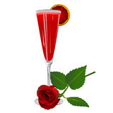 Cocktail with a rose isolated Royalty Free Stock Images