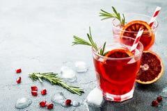Cocktail rosso con l'arancia sanguinella ed il melograno Bevanda di rinfresco di estate Aperitivo di festa per la festa di Natale immagine stock libera da diritti