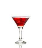 Cocktail rosso del martini con i cubi di ghiaccio Fotografia Stock Libera da Diritti