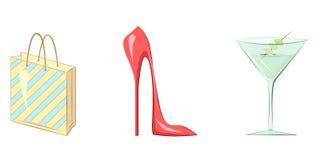 Cocktail rosso della scarpa di Shoping Fotografia Stock Libera da Diritti