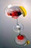 Cocktail rosso di martini con ghiaccio Fotografie Stock Libere da Diritti