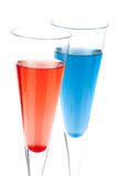Cocktail rosso e blu dell'alcool di Champagne Immagine Stock Libera da Diritti