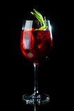 Cocktail rosso su fondo nero Fotografia Stock