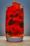 Cocktail rouge avec de la glace et la menthe Images libres de droits