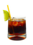 Cocktail - Rum, coke, ice and lime Royalty Free Stock Photo