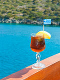 Greece vacations: cocktail on the yacht Stock Photo