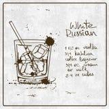Cocktail russo bianco disegnato a mano Fotografia Stock Libera da Diritti