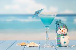 Cocktail, Schneemann und Starfish stockfoto