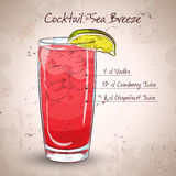 Cocktail Sea Breeze. With Cherry and lime on  white Stock Photo
