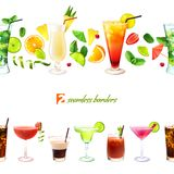 Cocktail seamless border Stock Image